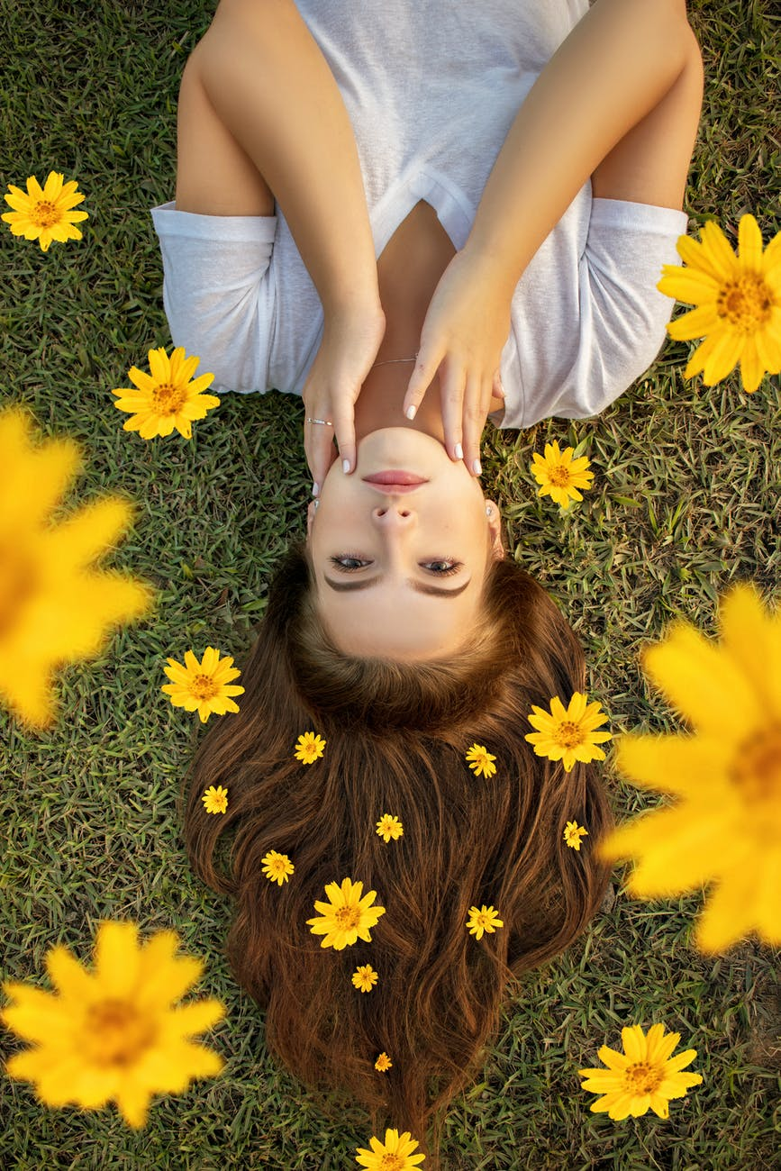 upside down photo of a woman